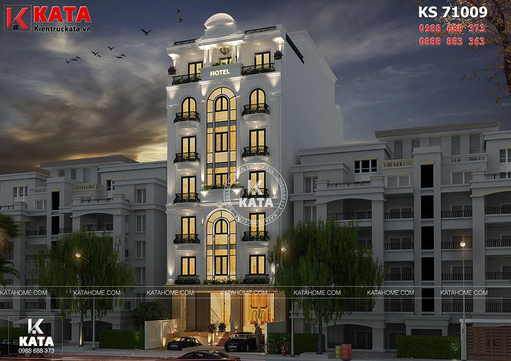 Một góc view về đêm của mẫu khách sạn 3 sao Hà Nội