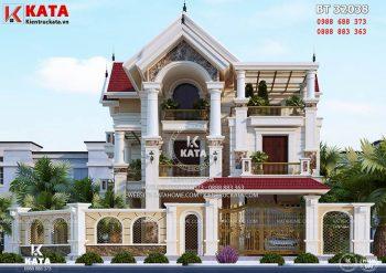 Thiết kế biệt thự tân cổ điển đẹp 3 tầng 2 mặt tiền tại Hải Dương – Mã số: BT 32038