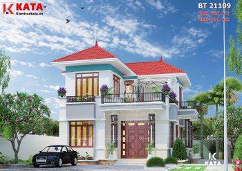 Nhà mái thái đẹp 2 tầng với sân vườn rộng tại Bắc Giang – Mã số: BT 21109
