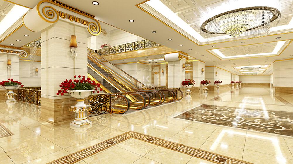 Một góc không gian nội thất của mẫu khách sạn tân cổ điển 5sao đẹp tại Hà Nội