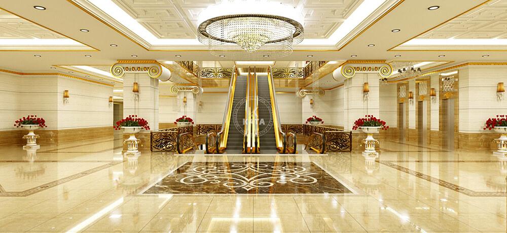 Cầu thang lên tầng của khách sạn tân cổ điển 5sao đẹp tại Hà Nội