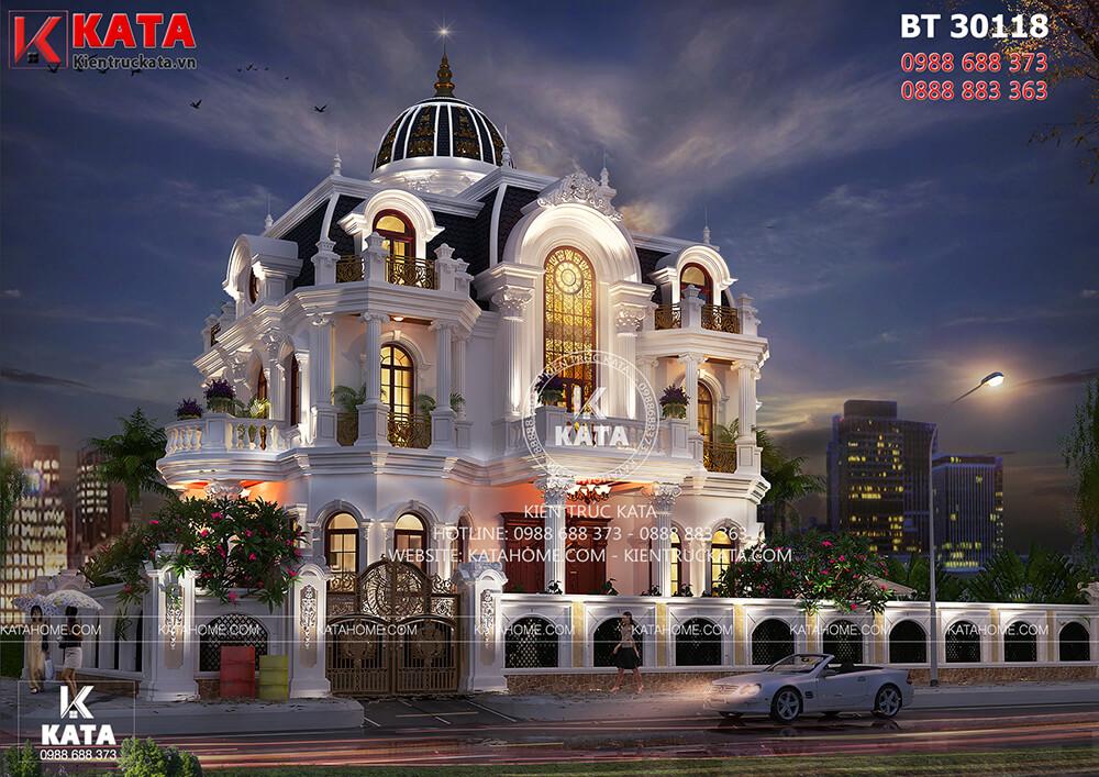 Mẫu nhà tân cổ điển 3 tầng kiểu Pháp tại Phú Mỹ Hưng lung linh về đêm