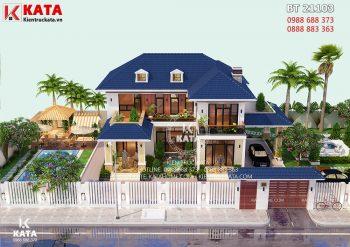 Thiết kế nhà 2 tầng đẹp mái thái đơn giản tại Thái Nguyên – Mã số: BT 21103