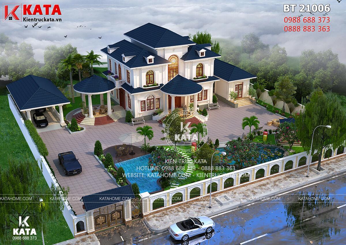 Bản vẽ biệt thự nhà vườn 2 tầng mái thái đẹp tại Đắk Lắk - Mã số: BT 21006