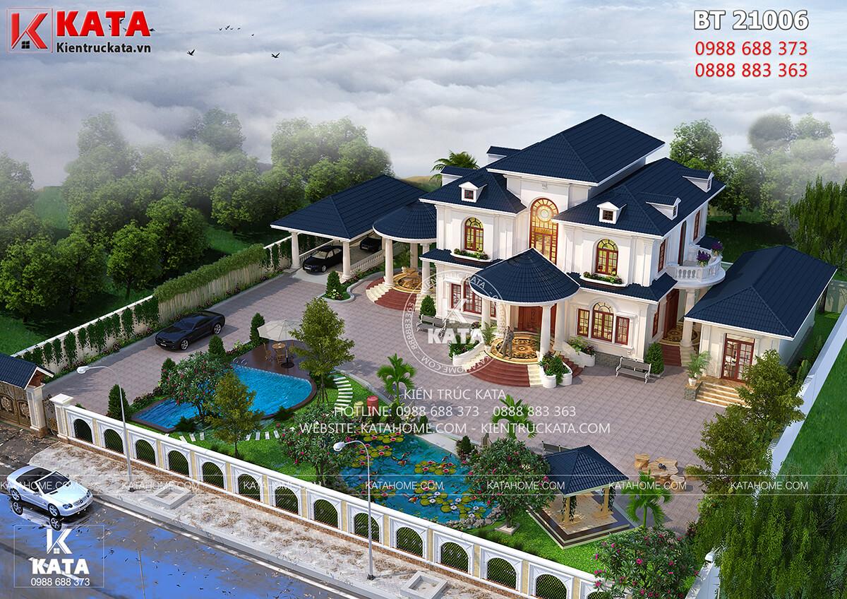 Bản vẽ biệt thự nhà vườn 2 tầng mái thái đẹp tại Đắk Lắk nhìn từ trên cao