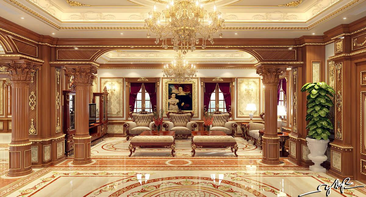Không gian nội thất phòng khách của mẫu biệt thự lâu đài 3 tầng tân cổ điển đẹp