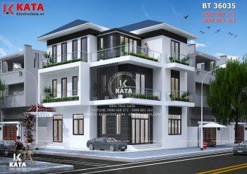 Mẫu biệt thự hiện đại 3 tầng mái Thái tại Vĩnh Phúc – Mã số: BT 36035