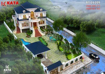 Biệt thự nhà vườn kiểu nhà sàn 2 tầng tại Thái Nguyên – Mã số: BT 21209