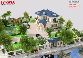 Thiết kế biệt thự mini kiểu Pháp 2 tầng tại Thanh Hóa – Mã số: BT 23028