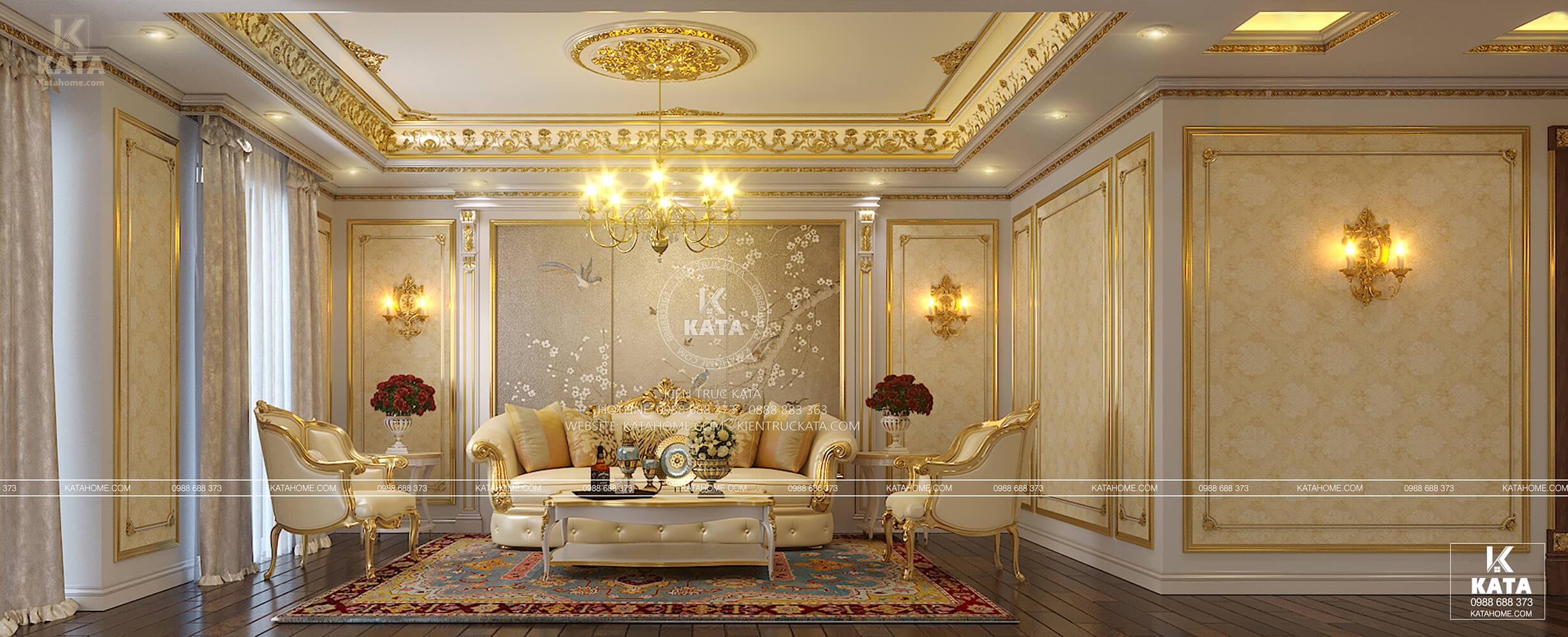 Thiết kế nội thất tân cổ điển lộng lẫy với hệ thống đèn vàng sang trọng