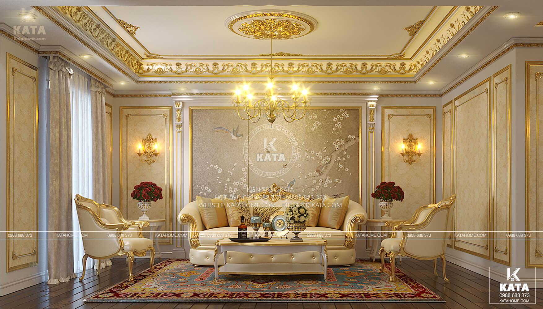 Thiết kế nội thất tân cổ điển cho phòng khách sang trọng và đẳng cấp