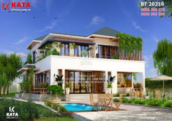 Thiết kế nhà vườn 2 tầng đẹp mái Thái tại Thái Nguyên – Mã số: BT 20216