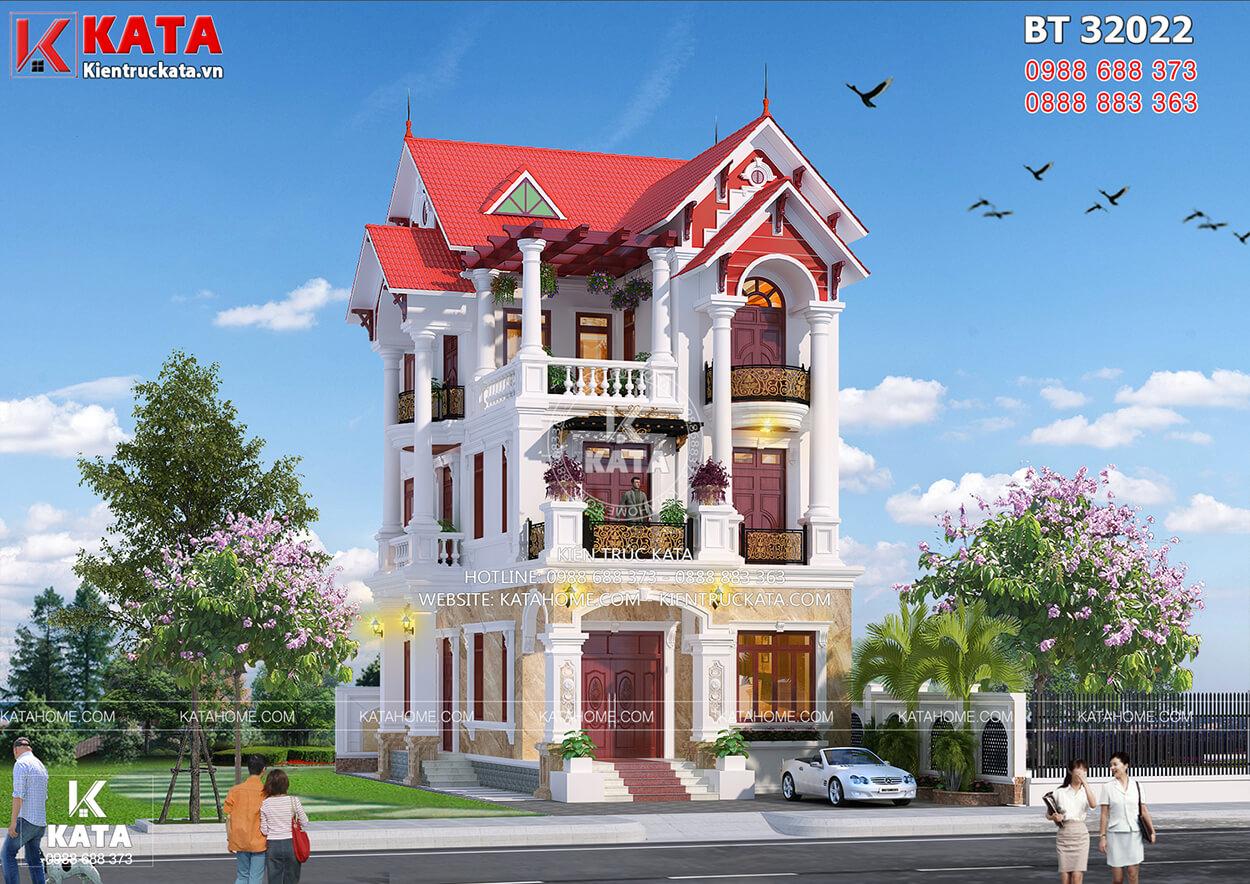 Mẫu nhà đẹp 3 tầng mái ngói tân cổ điển tại Hà Nội - Mã số: BT 32022