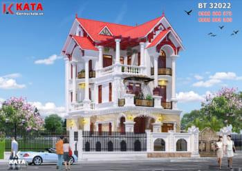 Mẫu nhà đẹp 3 tầng mái ngói tân cổ điển tại Hà Nội – Mã số: BT 32022
