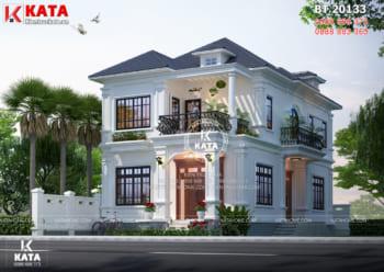 Bản vẽ thiết kế nhà đẹp 2 tầng mặt tiền 10m tại Nghệ An – Mã Số: BT20133