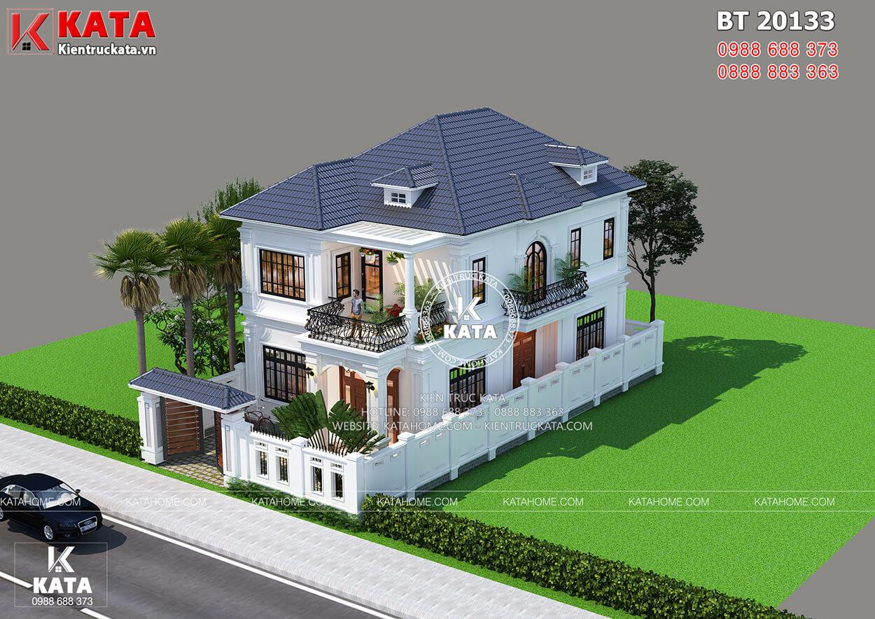 Toàn cảnh phối cảnh 3D bản vẽ thiết kế nhà đẹp 2 tầng mặt tiền 10m tại Nghệ An - Mã Số: BT20133