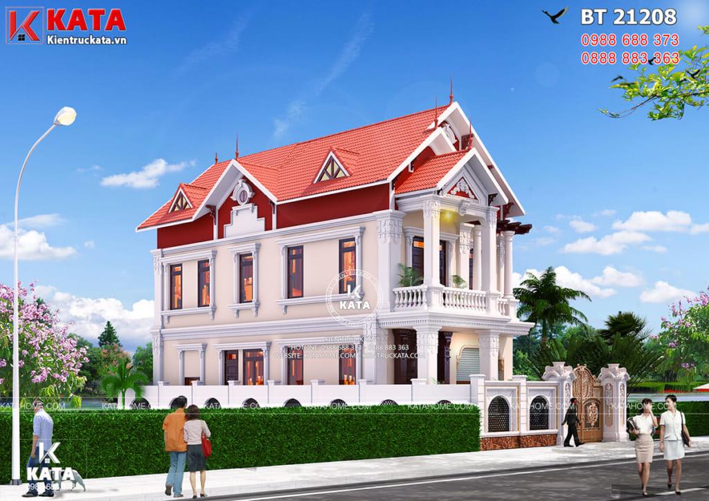Một góc view mẫu nhà 2 tầng đẹp nhiều mái tại Nam Định