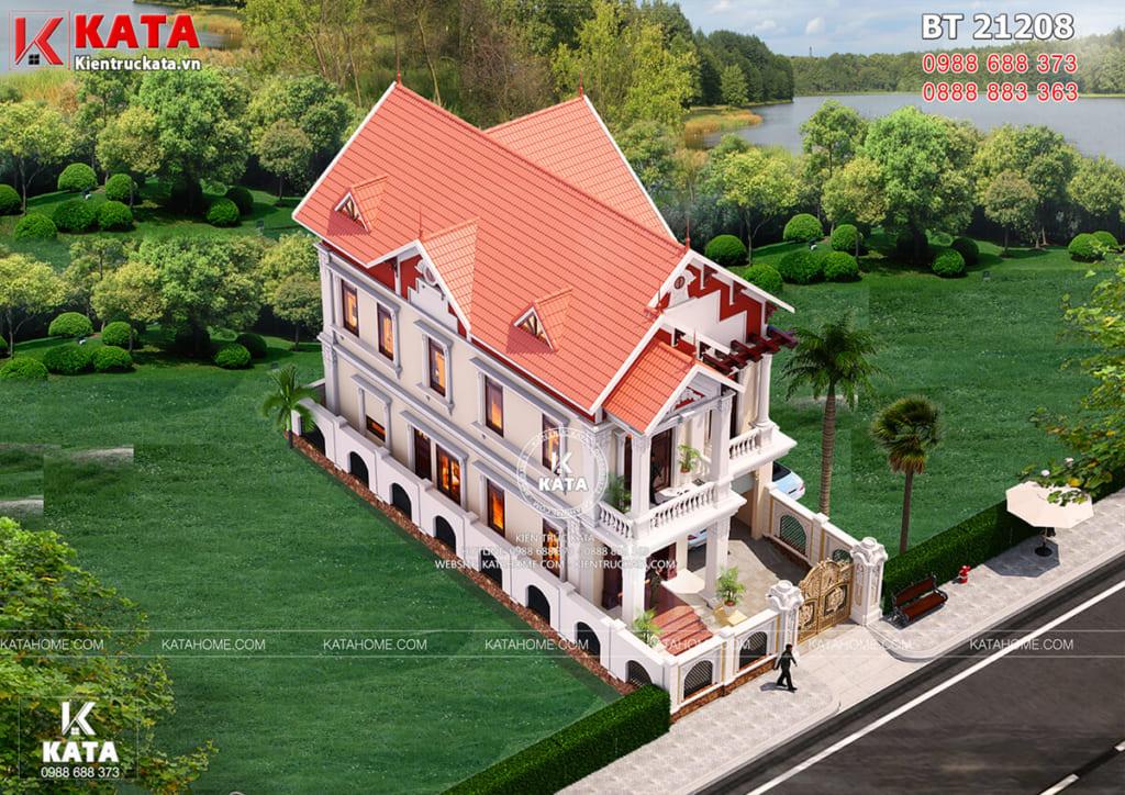 Mẫu nhà 2 tầng đẹp nhiều mái tại Nam Định nhìn từ trên cao