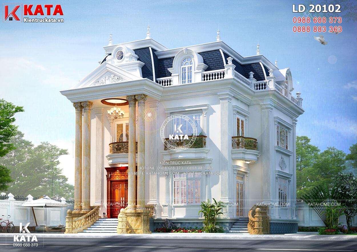 Thiết kế độc đáo, sang trọng của biệt thự Pháp tân cổ điển 2 tầng 1 tum - Mã số: BT20102