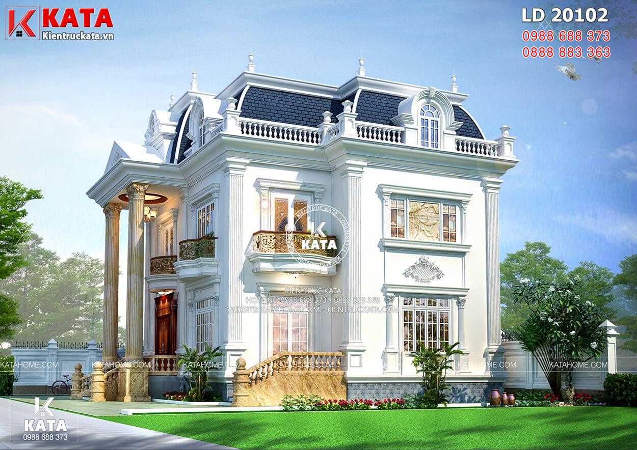 Kiến trúc Pháp đẳng cấp của mẫu biệt thự Pháp tân cổ điển 2 tầng 1 tum - Mã số: BT20102