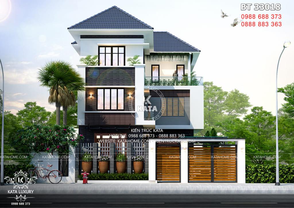 Biệt thự chữ L 3 tầng sang trọng tại Quảng Ninh nổi bật với kiến trúc hiện đại