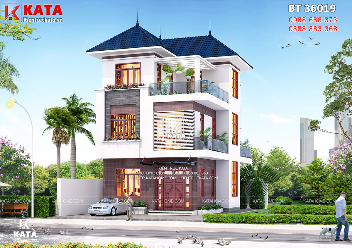 Mặt tiền mẫu nhà 3 tầng đẹp hiện đại tại Quảng Ninh