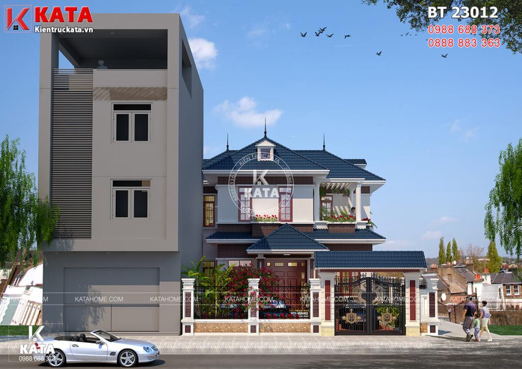 Mặt tiền mẫu nhà đẹp 2 tầng mái Thái 100m2 tại Thái Bình