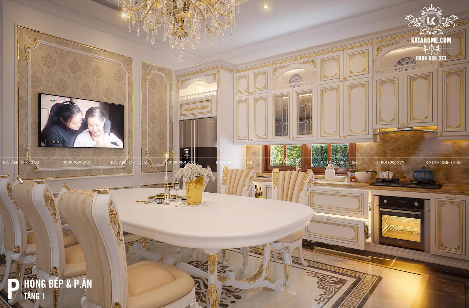Nội thất phòng bếp mẫu biệt thự tân cổ điển đẹp 2 trệt 1 lầu tại Thành phố Hồ Chí Minh