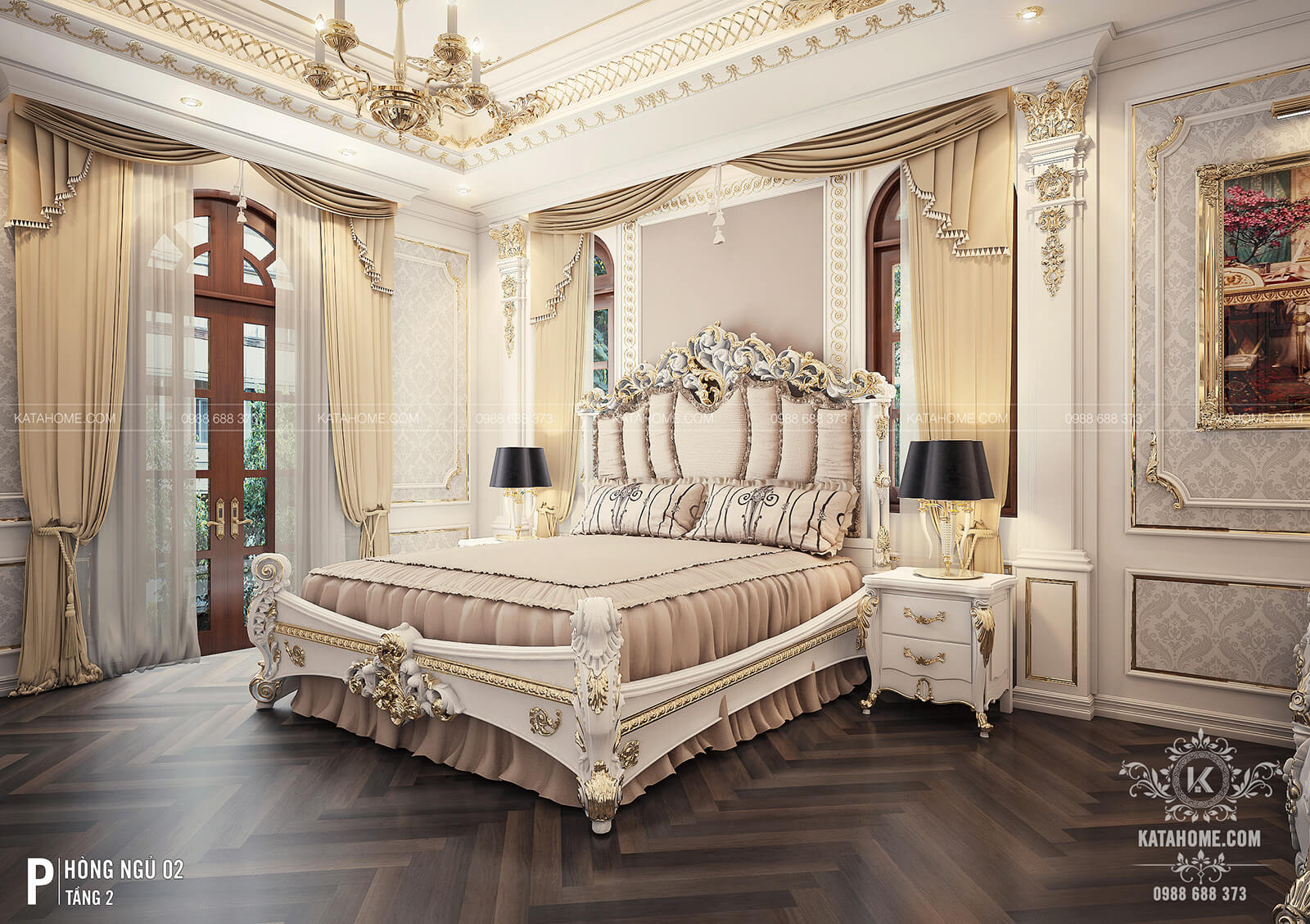 Nội thất phòng ngủ tầng 2 của mẫu biệt thự tân cổ điển đẹp 2 trệt 1 lầu tại Thành phố Hồ Chí Minh