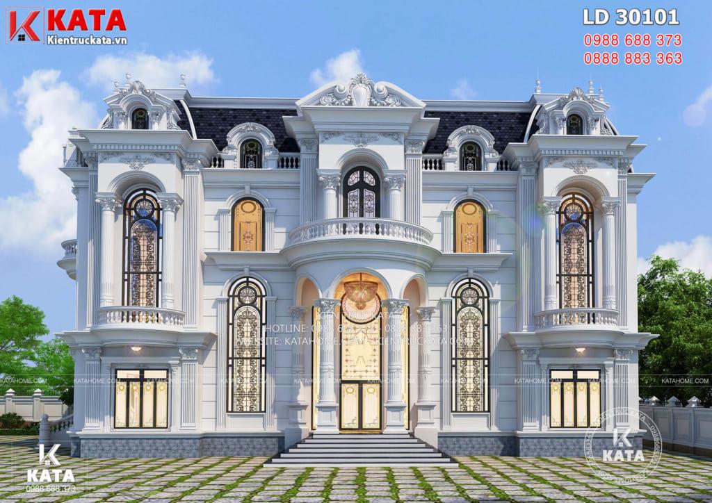 Mặt tiền mẫu lâu đài dinh thự 3 tầng tân cổ điển đẹp