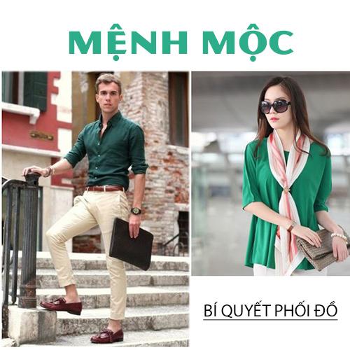 Trang phục màu xanh lá hợp người mệnh Mộc