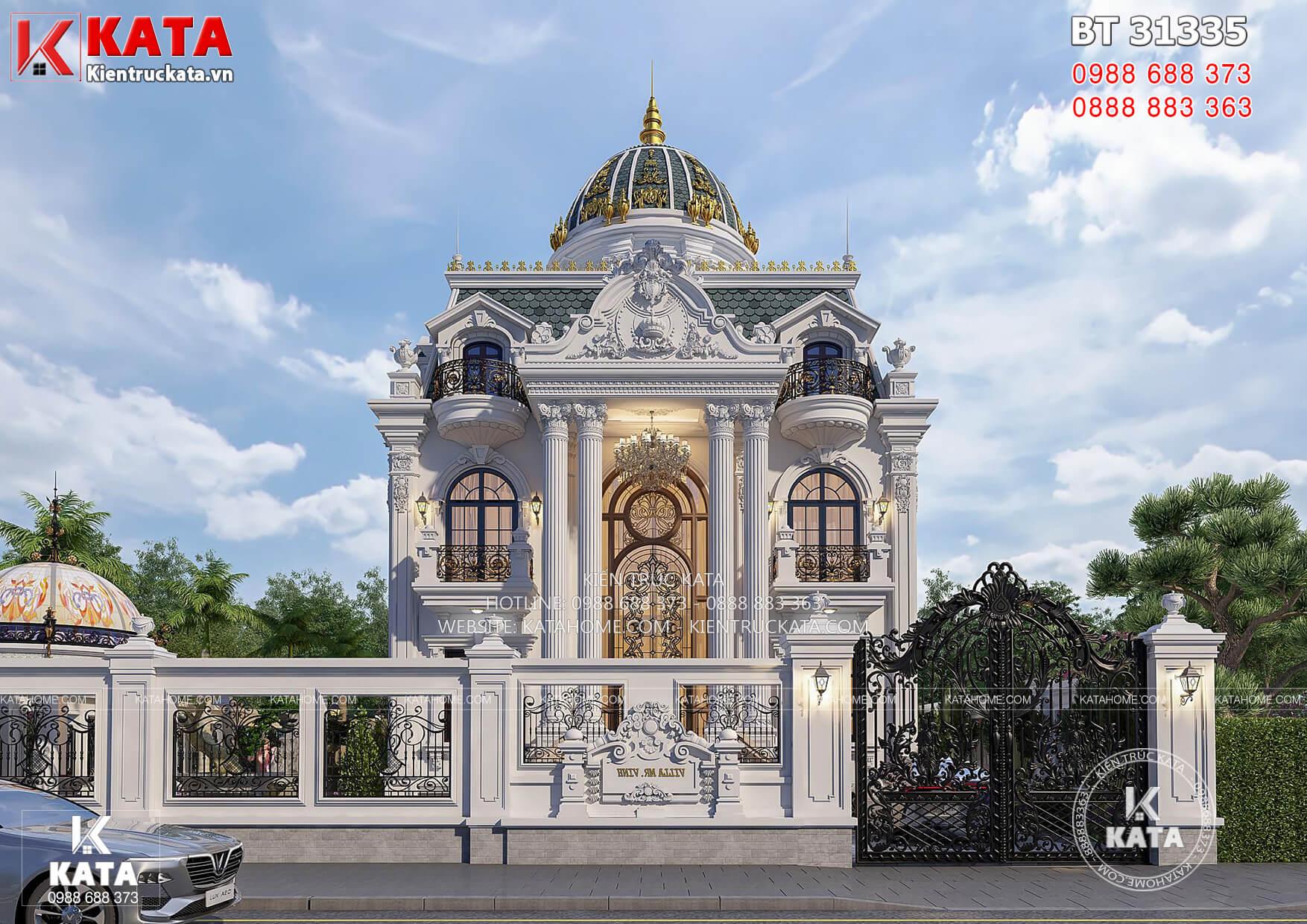 Tổng thể mẫu thiết kế biệt thự 3 tầng đẹp tân cổ điển