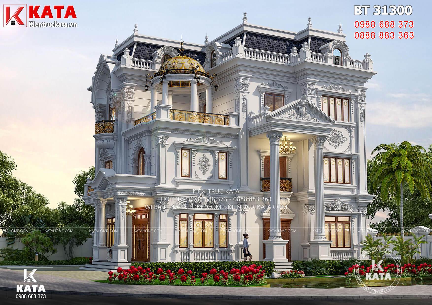 Một góc view của mẫu nhà tân cổ điển 3 tầng đẹp tại Vĩnh Long