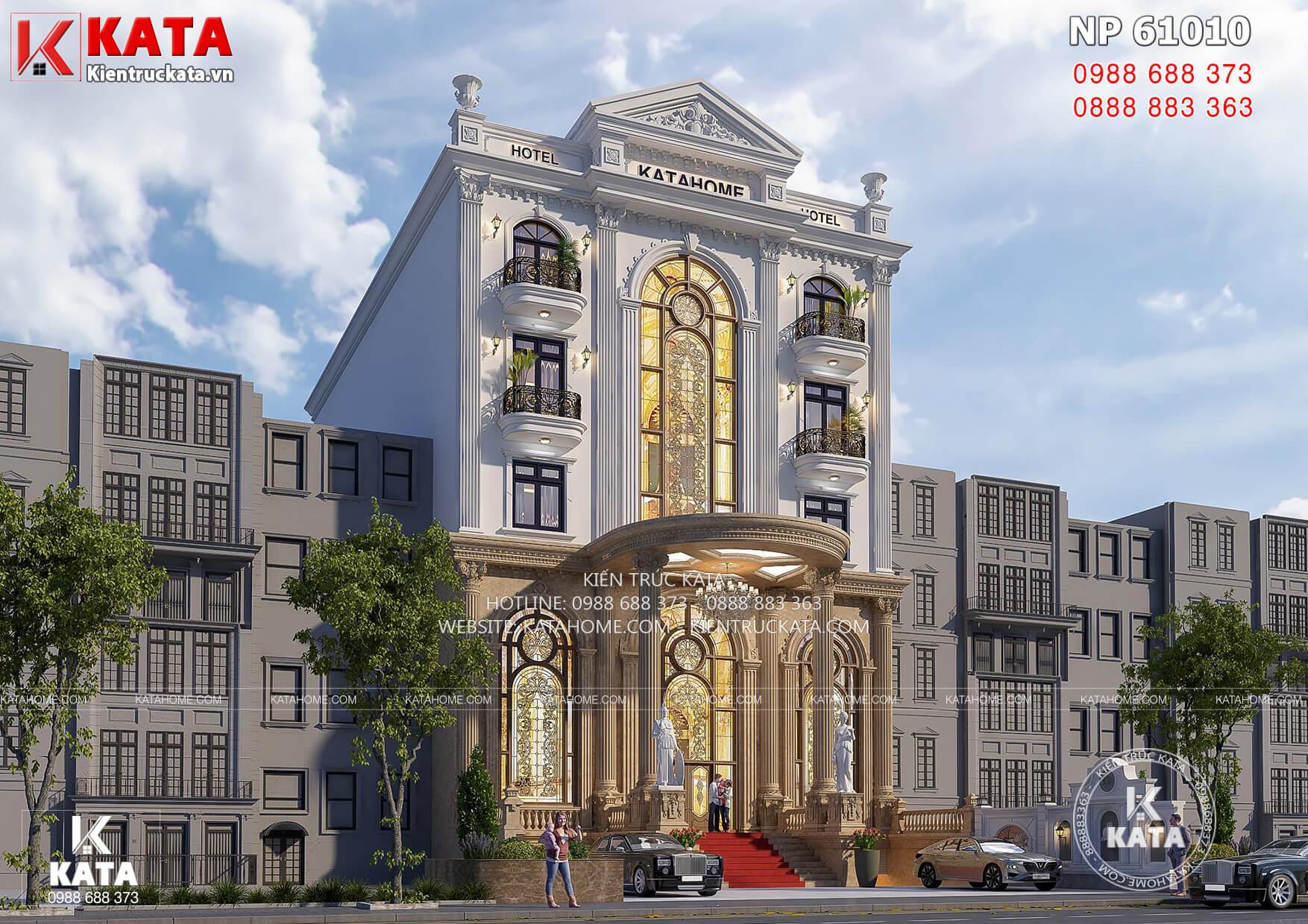 Mẫu thiết kế khách sạn đẹp 3 sao mặt tiền 15m - NP 61010