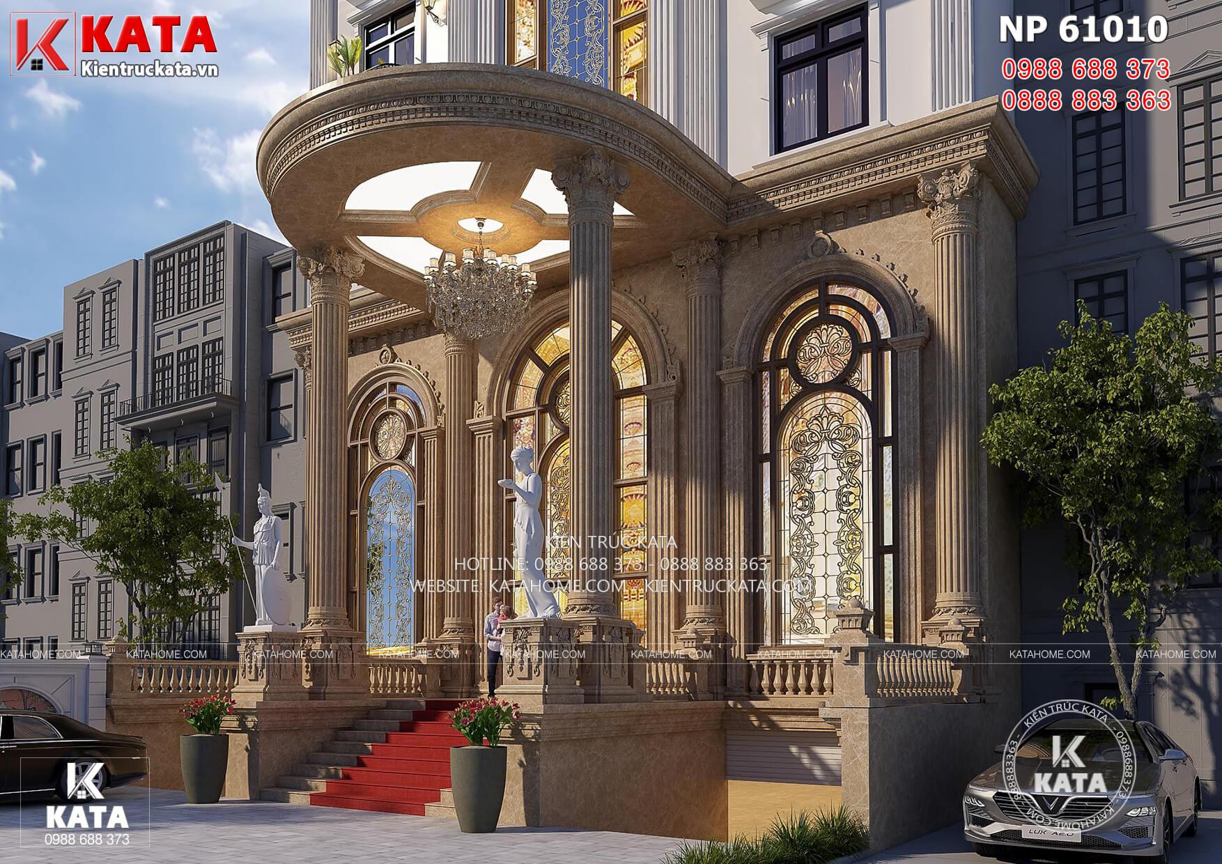 Chi tiết kiến trúc sảnh chính của mẫu khách sạn tân cổ điển đẳng cấp