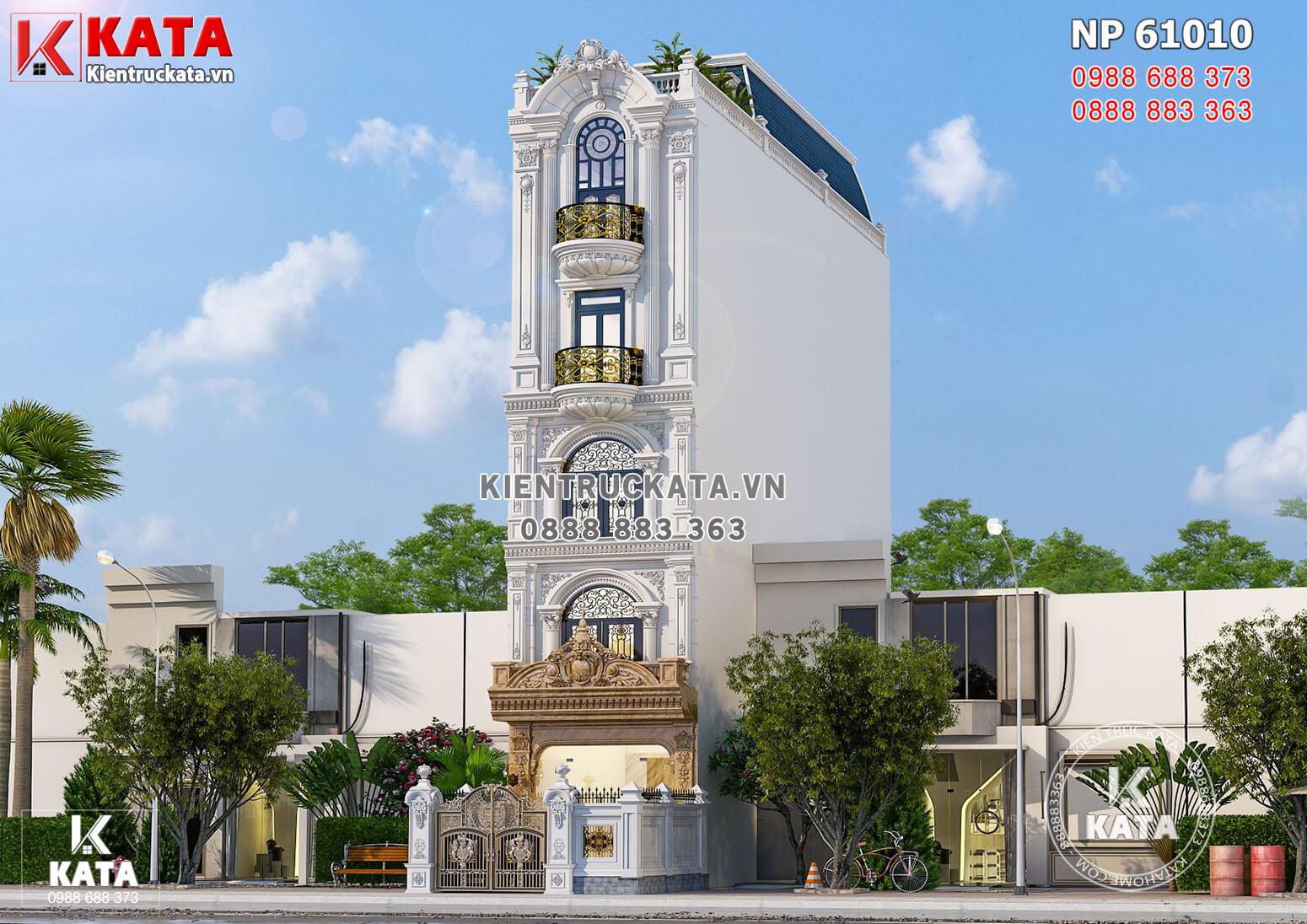 Thiết kế nhà phố 5 tầng tân cổ điển mặt tiền 4m đẹp tại Đông Anh - Mã số: NP 61010