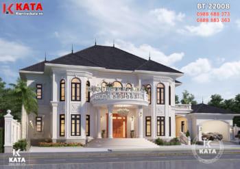 Bản vẽ thiết kế biệt thự 2 tầng tân cổ điển đẹp tại Bình Phước – BT 22008