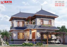 Bản vẽ nhà 2 tầng mái Nhật đẹp hiện đại – BT 23115