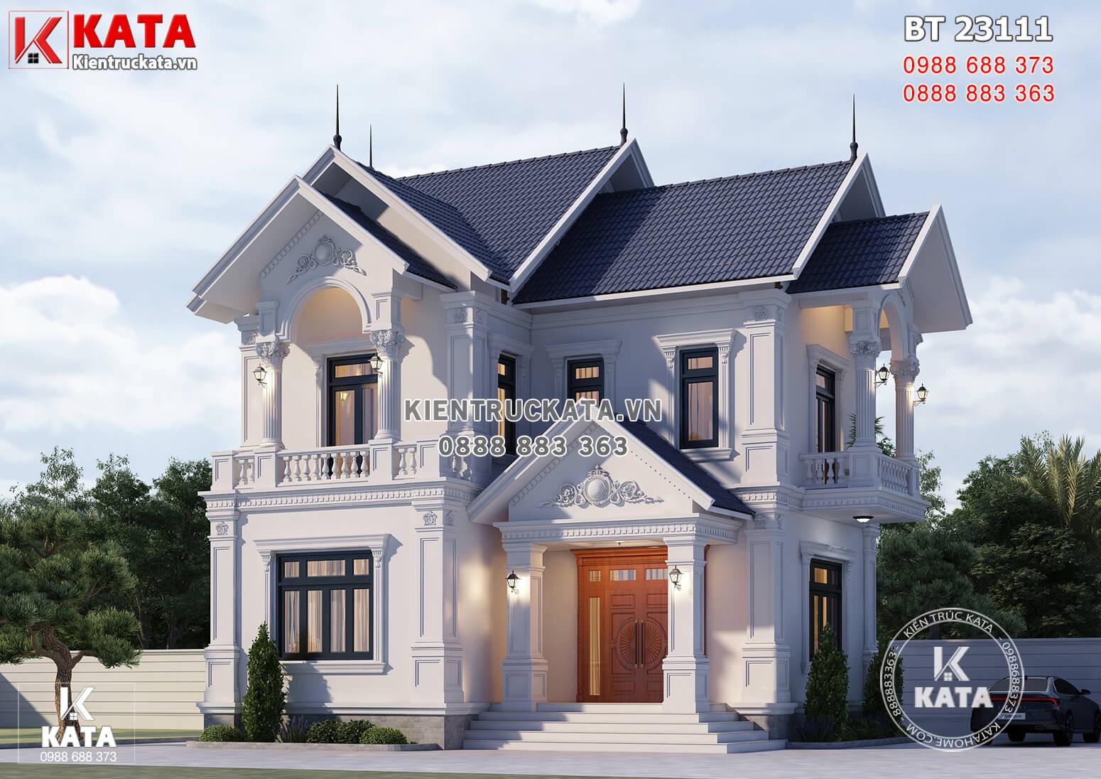 Phối cảnh 3D ngoại thất đẹp mẫu thiết kế nhà 2 tầng 80m2 kiến trúc Pháp sang trọng