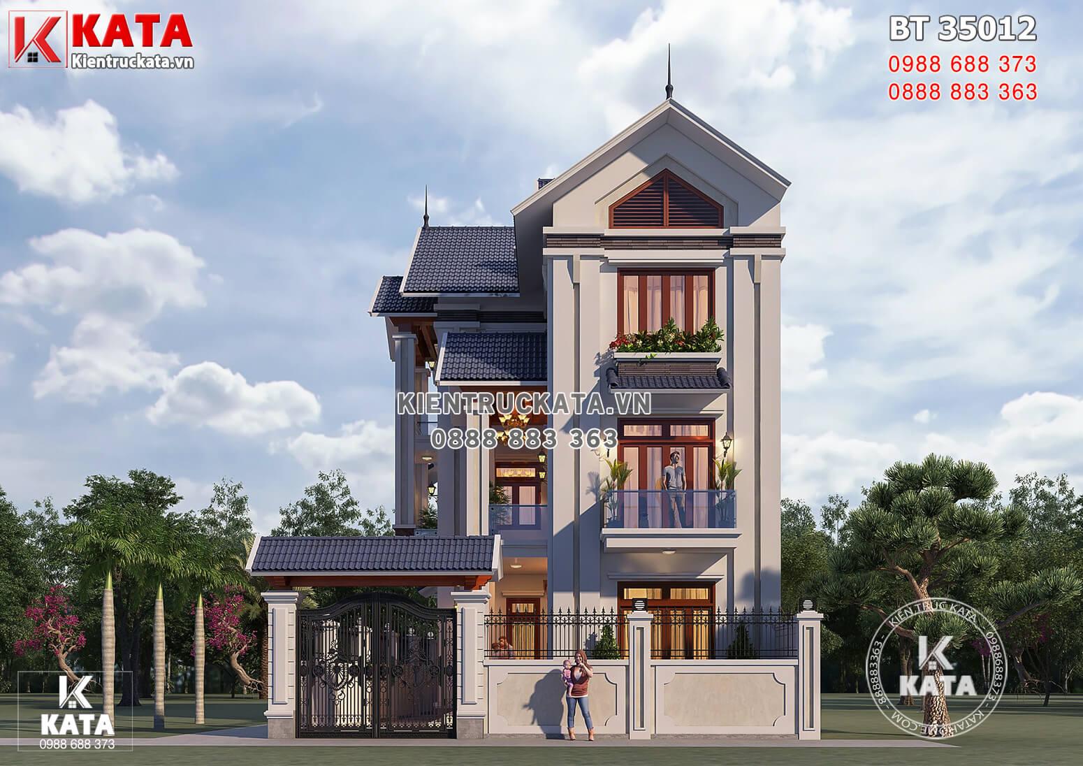 Phối cảnh 3D mặt tiền mẫu nhà 3 tầng đẹp mái Thái 100m2 mặt tiền 8m