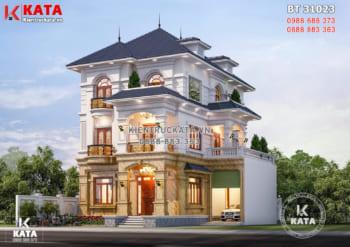 Ấn tượng với mẫu thiết kế nhà 3 tầng tân cổ điển mái Nhật – BT 31023