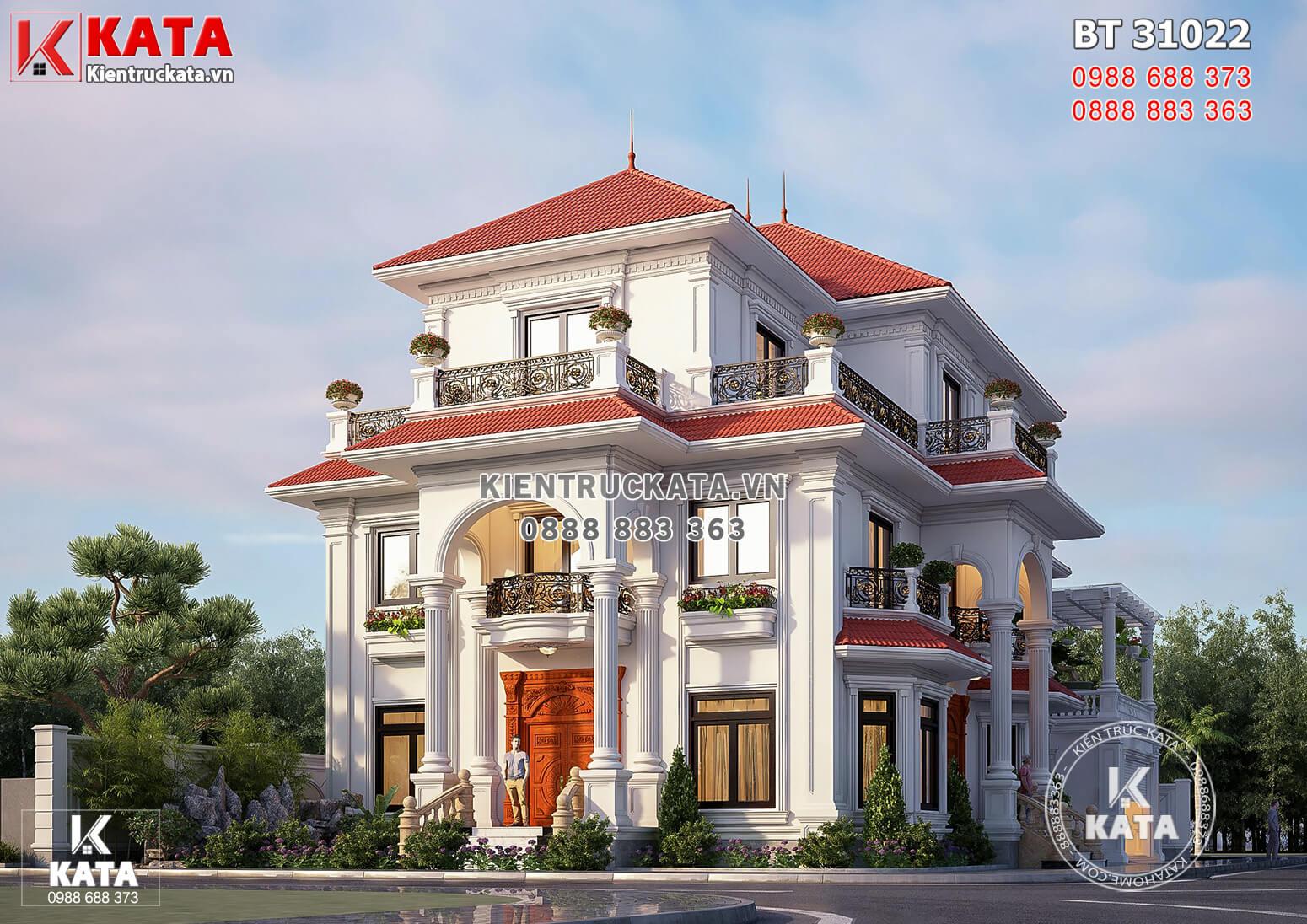 Hình ảnh: Mẫu thiết kế biệt thự 3 tầng phong cách tân cổ điển sang trọng - BT 31022