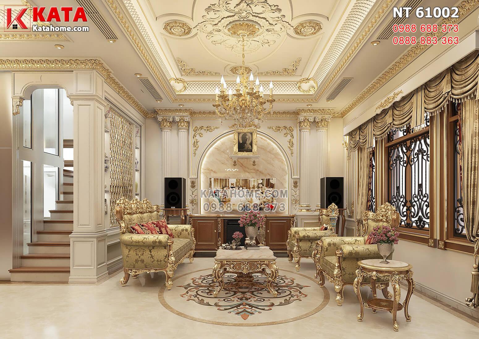 Hình ảnh: Không gian phòng khách được bố trí nguyên vật liệu cao cấp