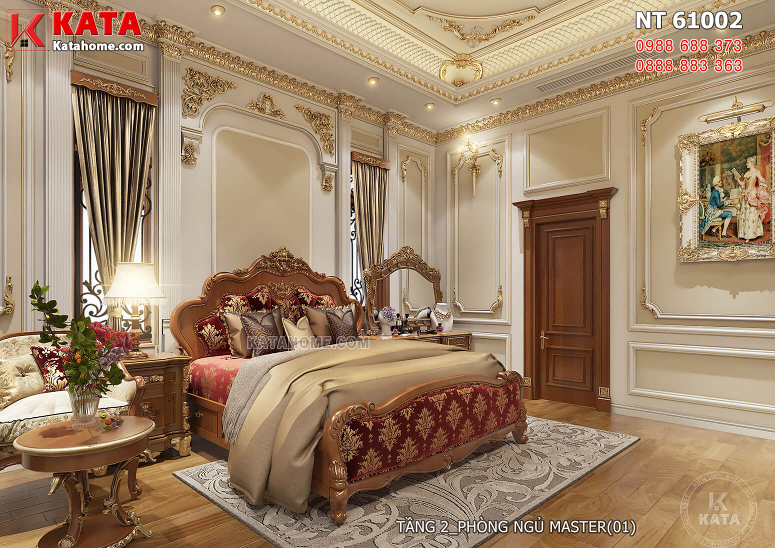 Hình ảnh: Thiết kế nội thất tân cổ điển đẹp cho không gian phòng ngủ Master