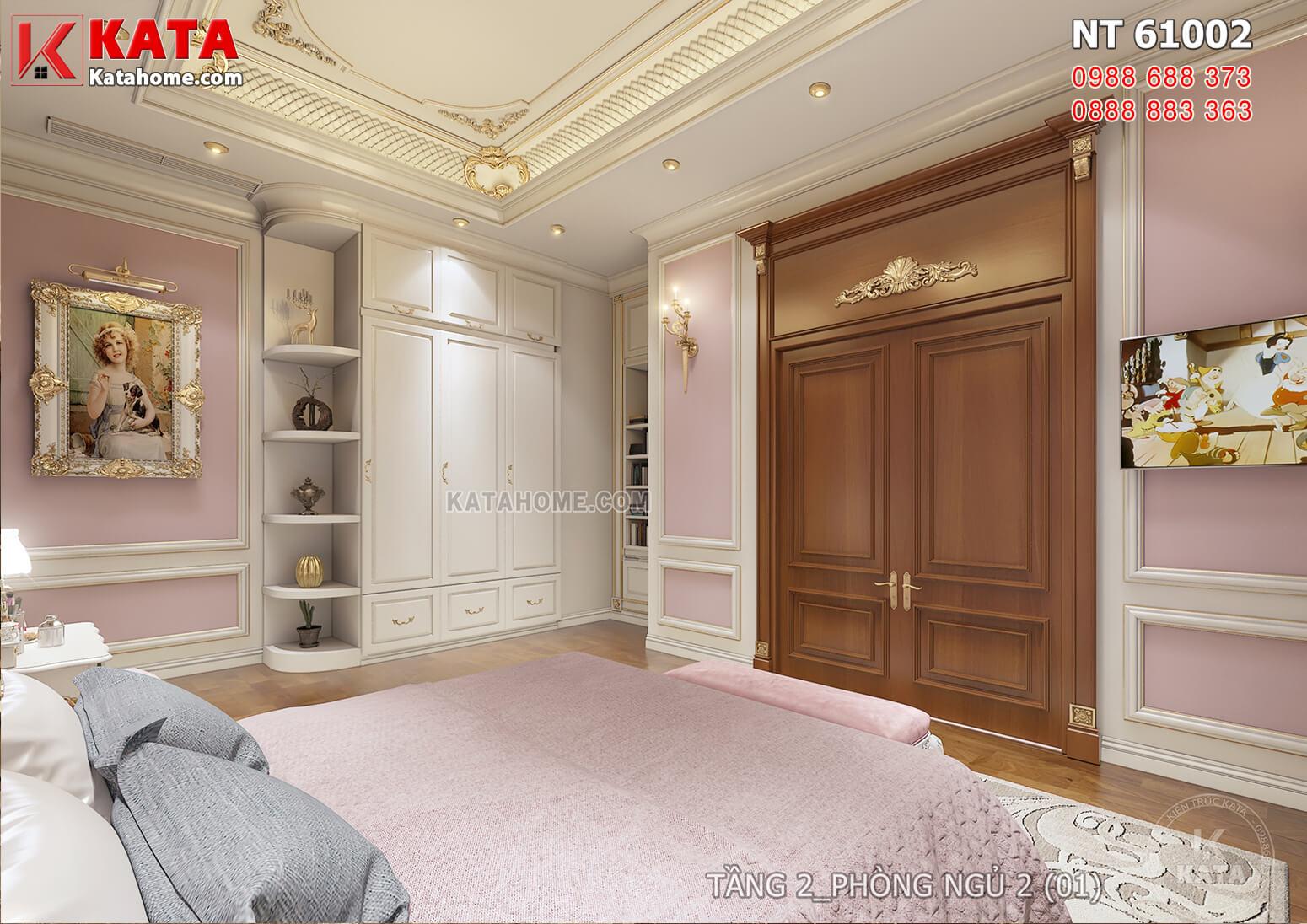 Hình ảnh: Phòng ngủ 3 được thiết kế với tone màu hồng làm điểm nhấn