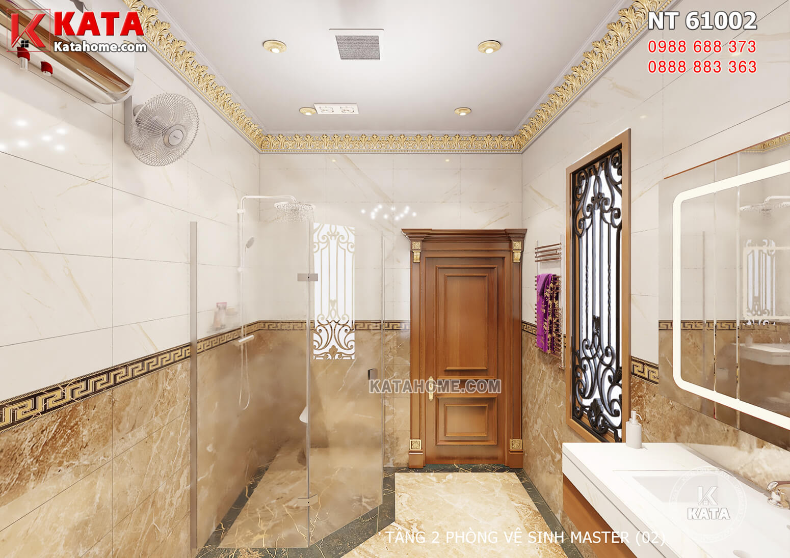 Hình ảnh: Khu vực tắm cũng được phân cách bởi các vách kính