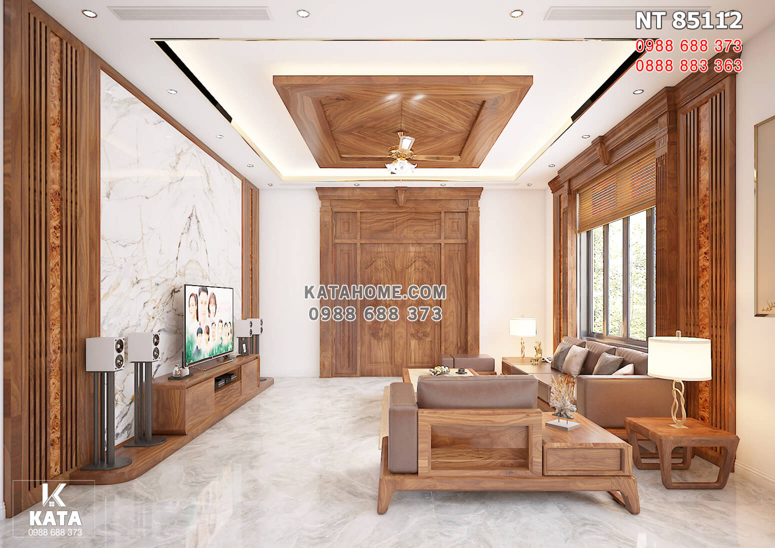 Hình ảnh: Thiết kế nội thất phòng khách với gỗ óc chó nhập khẩu cao cấp