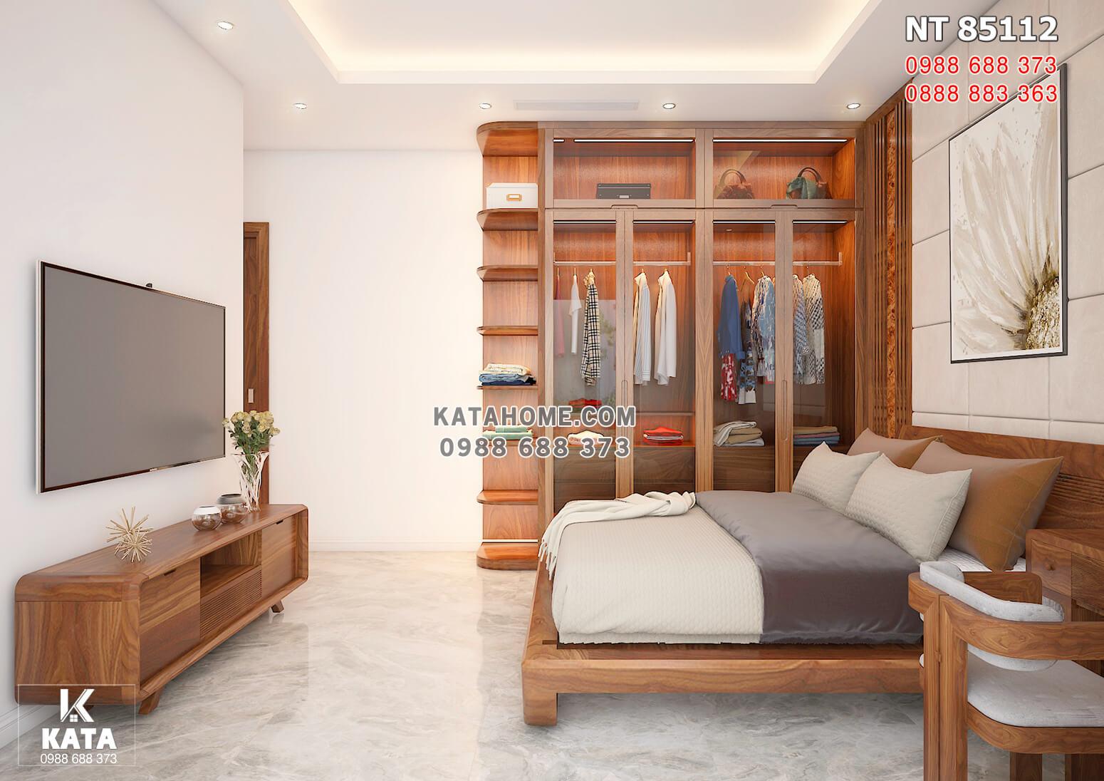 Hình ảnh: Không gian phòng ngủ 2 với các món đồ nội thất gỗ óc chó cao cấp