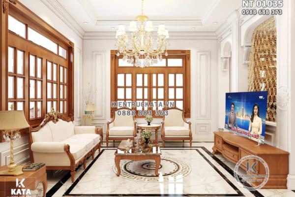 Hình ảnh: Phòng khách tân cổ điển nhẹ nhàng với tone màu sáng - NT 01305